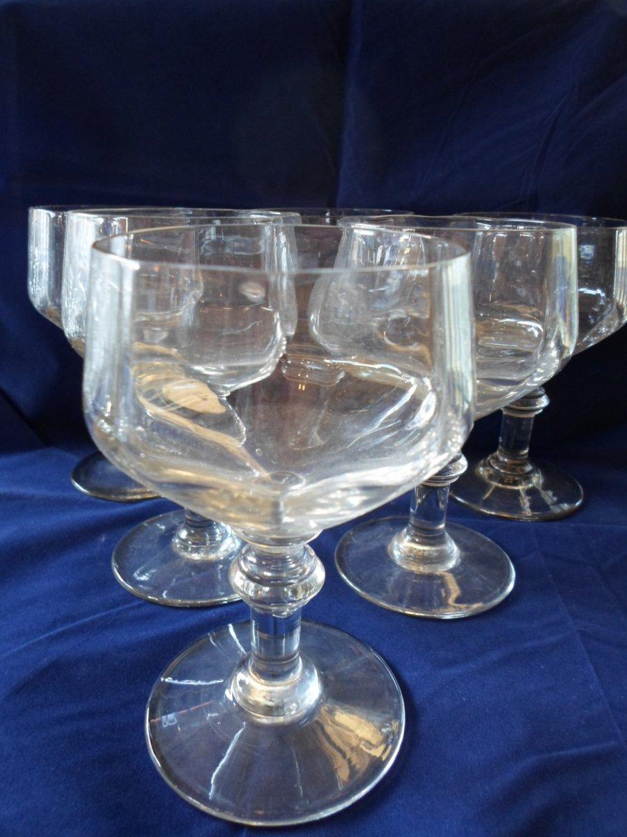 6 XIXth Water Glasses