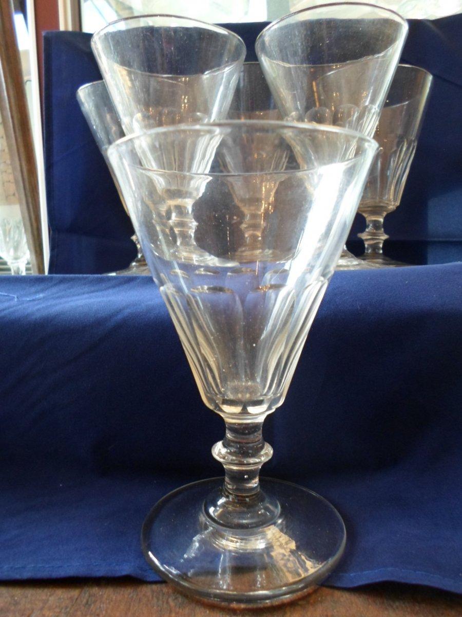6 XIXth Cut Water Glasses