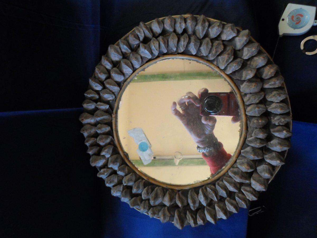 Small Round Mirror In Pine Cone Twentieth