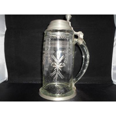 Tankard Glass / Engraved Pewter XVIII