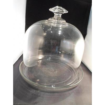 Belle Cloche à Gruyère/plat    Cristal XIXème