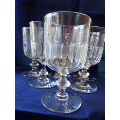 6 Glasses Eau Cristal Fort XIXth