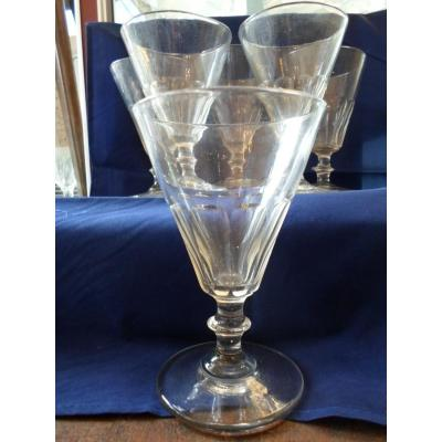 6 XIXth Cut Water Glasses