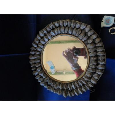 Small Round Mirror In Pine Cone Twentieth