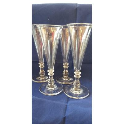 4 Crystal Champagne Glasses XIXth