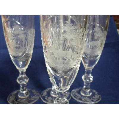 4 Flutes Cristal XIXème Gravées ( Chasse )
