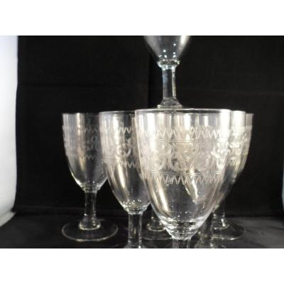 7 Engraved Water Glasses Early Twentieth
