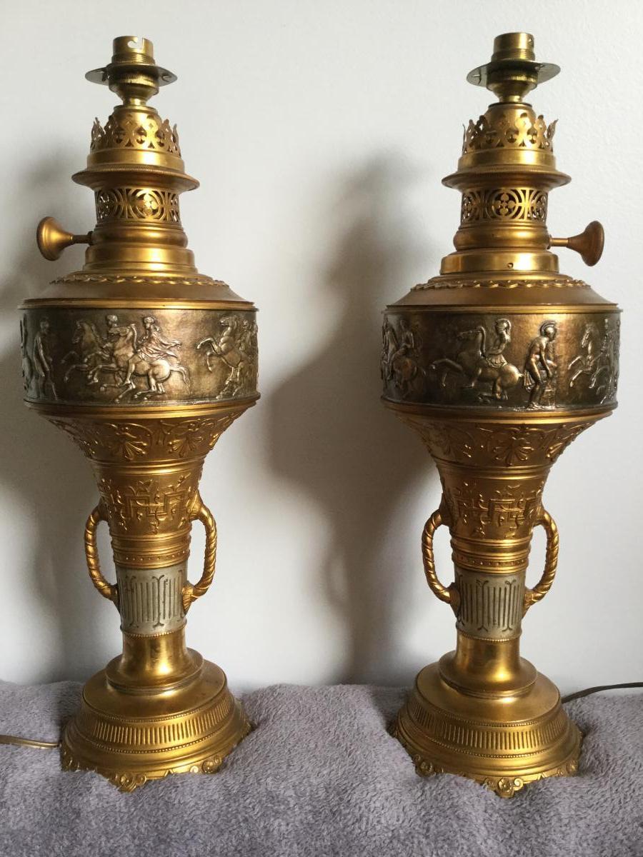 Paire De Lampes à Huile En Bronze XIXème, Decor a l'antique, palmettes Empire...