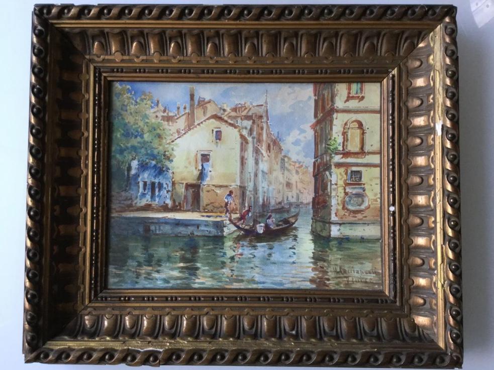 Aquarelle Ancienne Signée, Venise, Italie, Cadre Doré