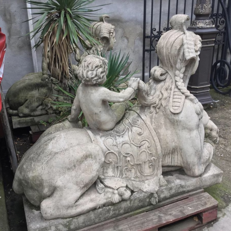 Sphinxes Pair To Puttis Reconstituted Stone, Statue Garden-photo-4