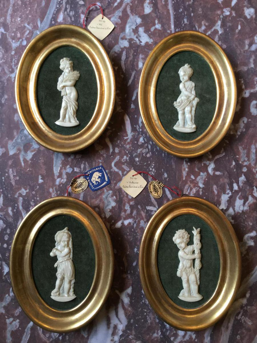 """4 Seasons"" In Ivory Carved Ancient Medallions Golden Frames"