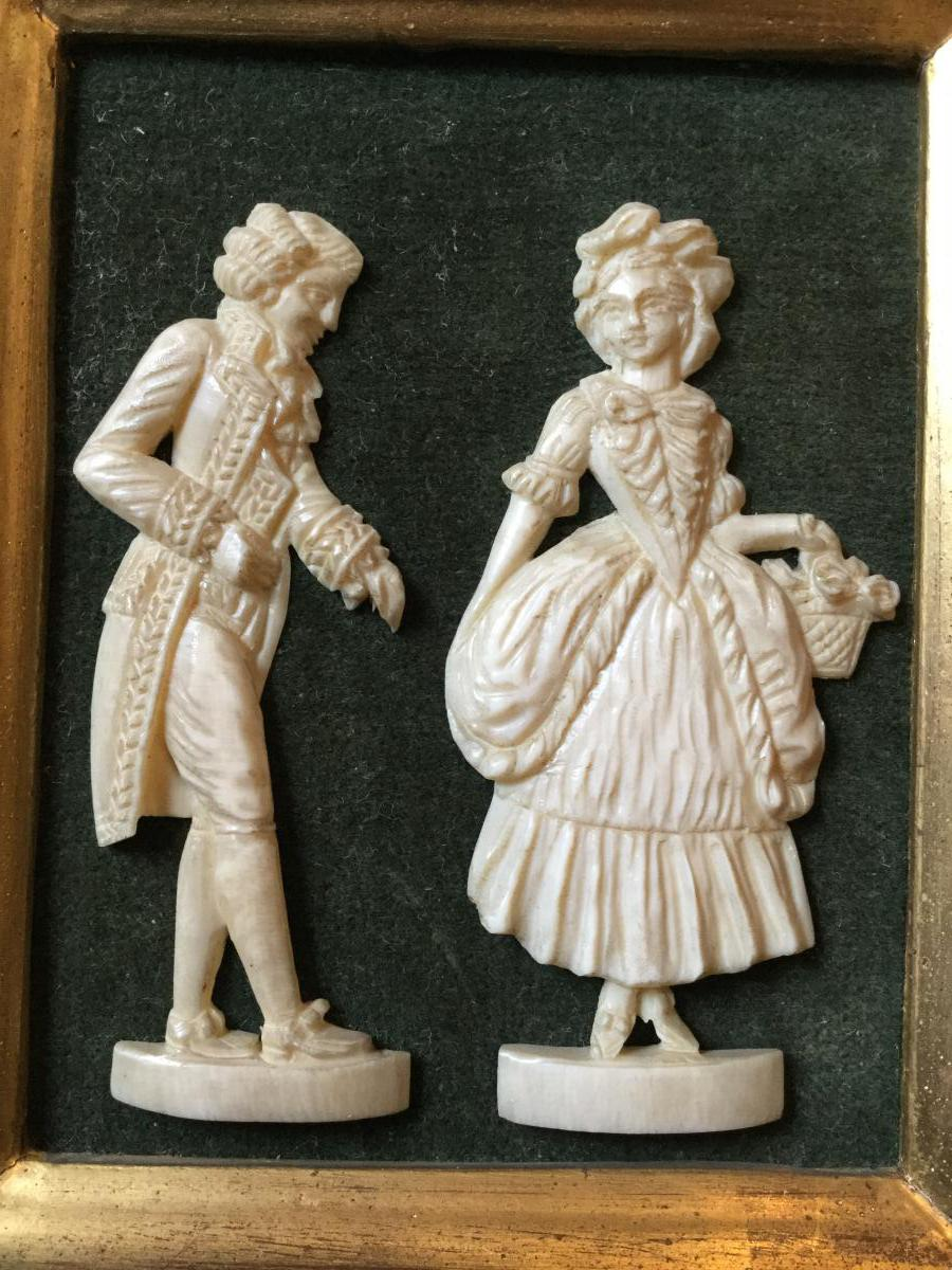 Pair of topics in ivory carved elder quot marquis and