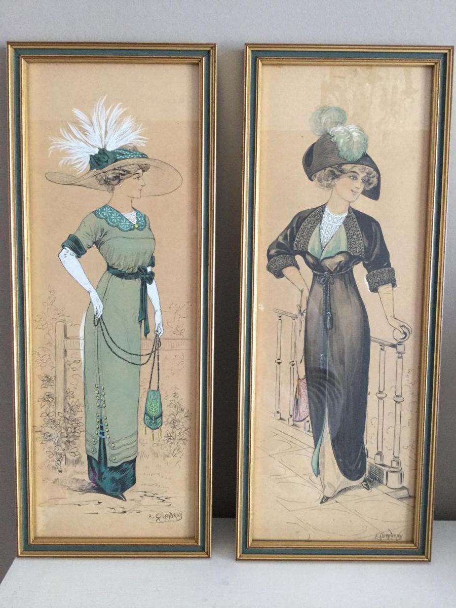 2 Dessins De Mode Aquarellés époque 1900, Signés