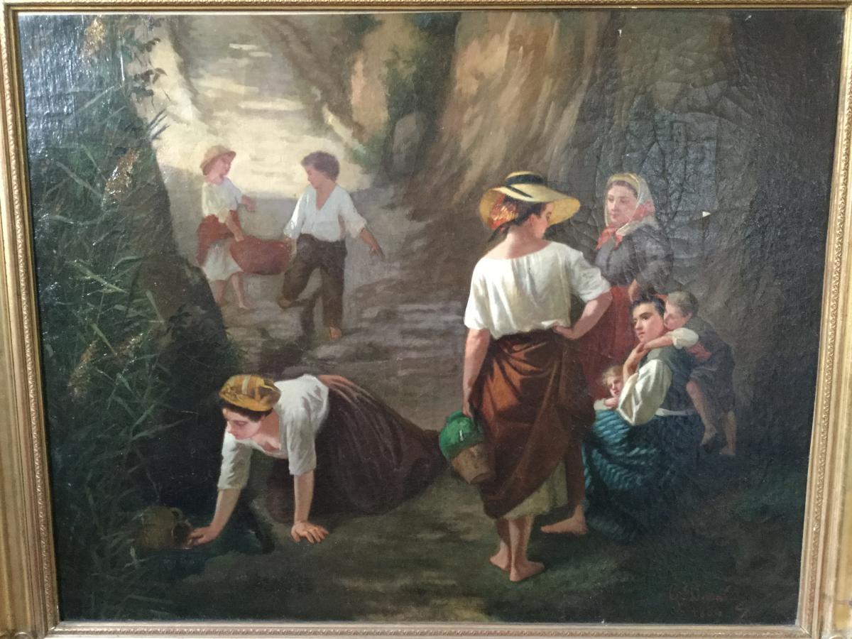 """Grande Huile Sur Toile XIXème, """"descente à La Source"""" Signée"""