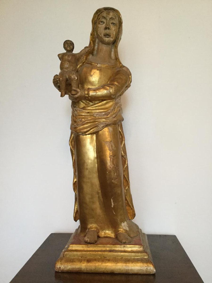 Grande Vierge à l'Enfant XVIIIème Siècle,en Bois Sculpté Doré Et Polychrome