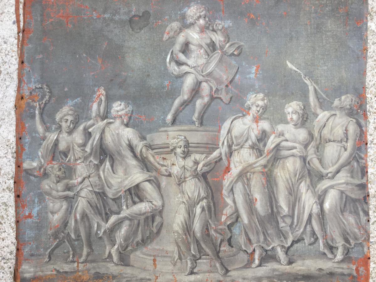 Huile Sur Toile XIXème, Grisaille Ancienne, Scène De Personnages