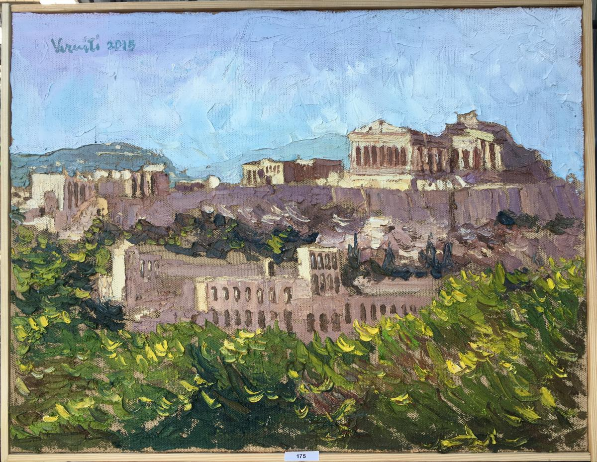 """Huile Sur Toile """"le Parthénon d'Athènes"""" En Grèce, Signée Salvatore Verniti"""