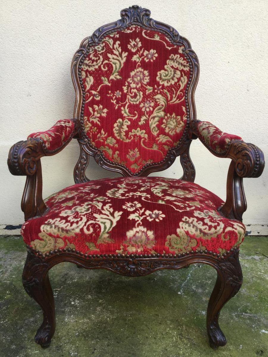 Carved Walnut Armchair Nineteenth, Velvet From Genoa