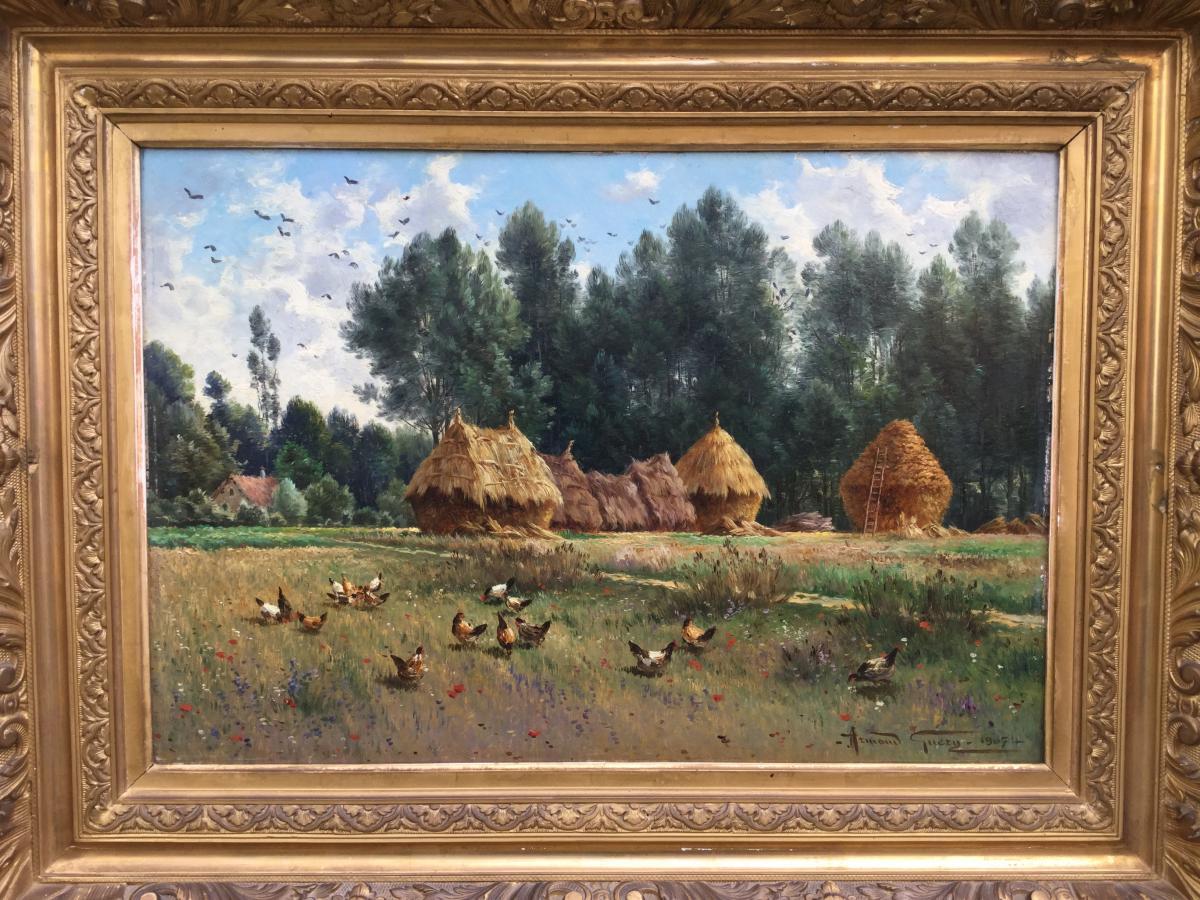 Armand Guery , Paysage De Campagne, Meules, Poules, Village De Pontgivart 51, Reims, Marne