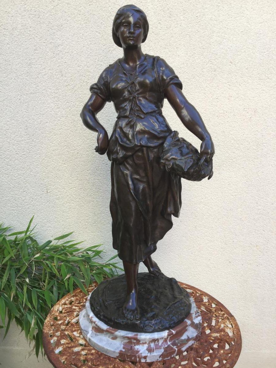 Bronze ancien signé : Émile-louis Picault (1833-1915) La Marchande De Poissons