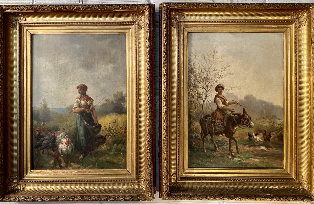 Pair Of Paintings XIXth, Scenes Of Country Signed G. Angelvy, Barbizon, Chickens, Turkeys