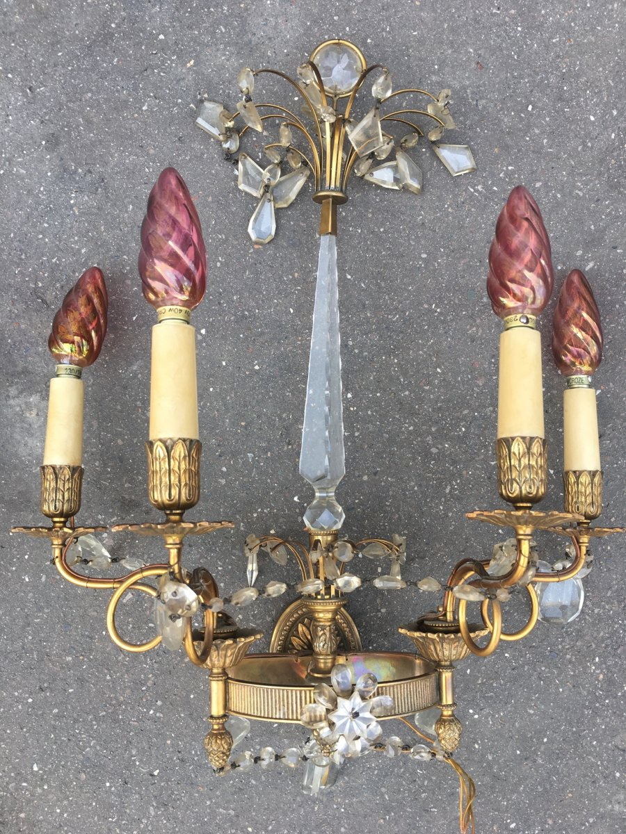 Pair Of Louis XVI Style Gilt Bronze Sconces And Crystal Pendants