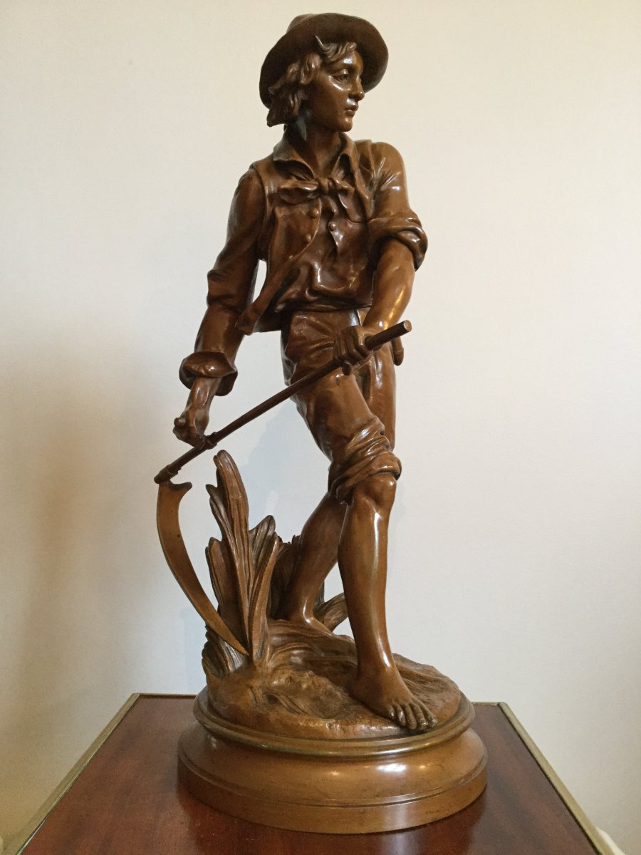 Sujet En Bronze XIXème «le Faucheur» Signé Eugène-antoine Aizelin (1821-1902)