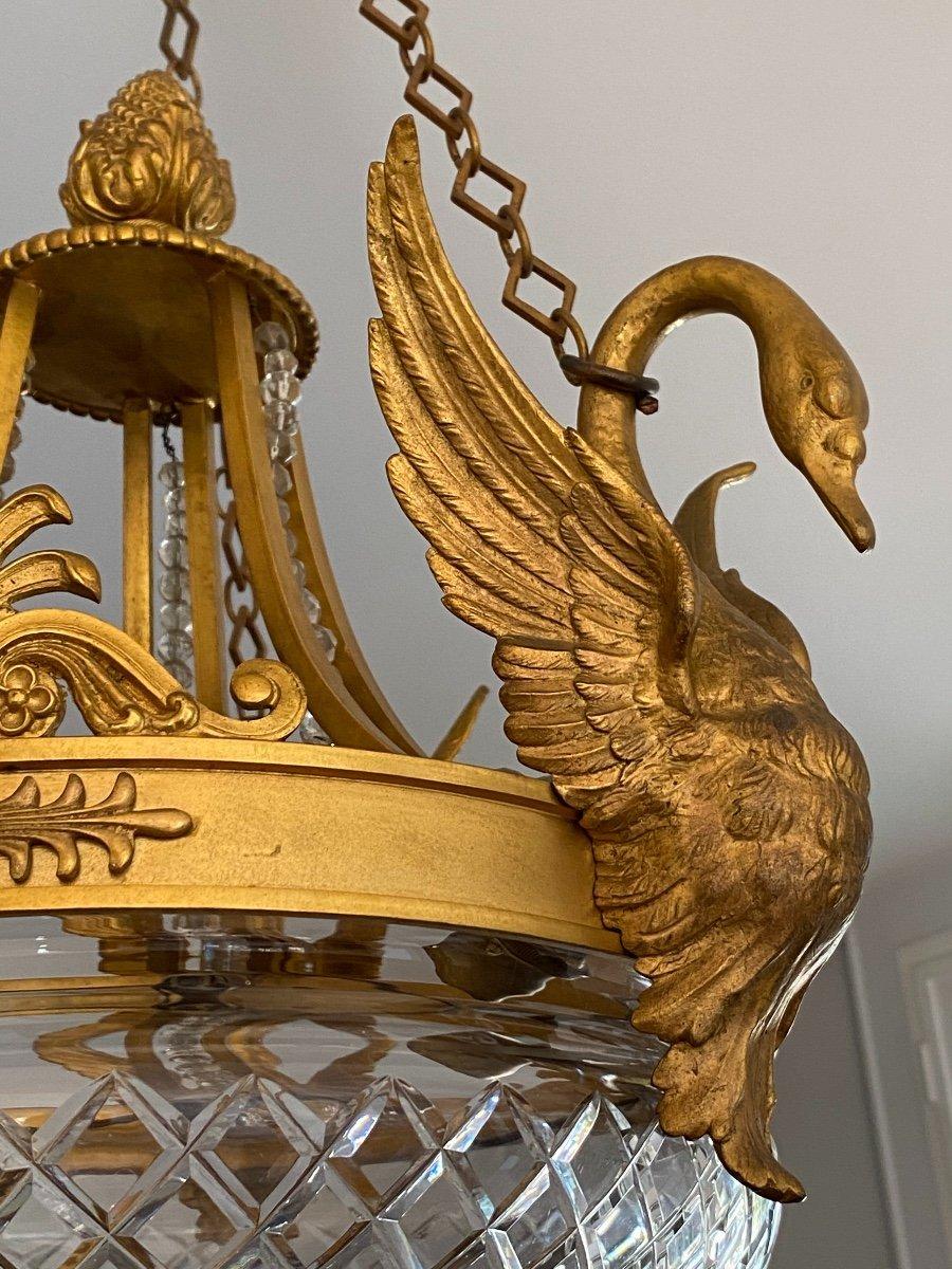 Lustre Empire à Col De Cygne En Bronze Doré, Décor De Palmettes -photo-3