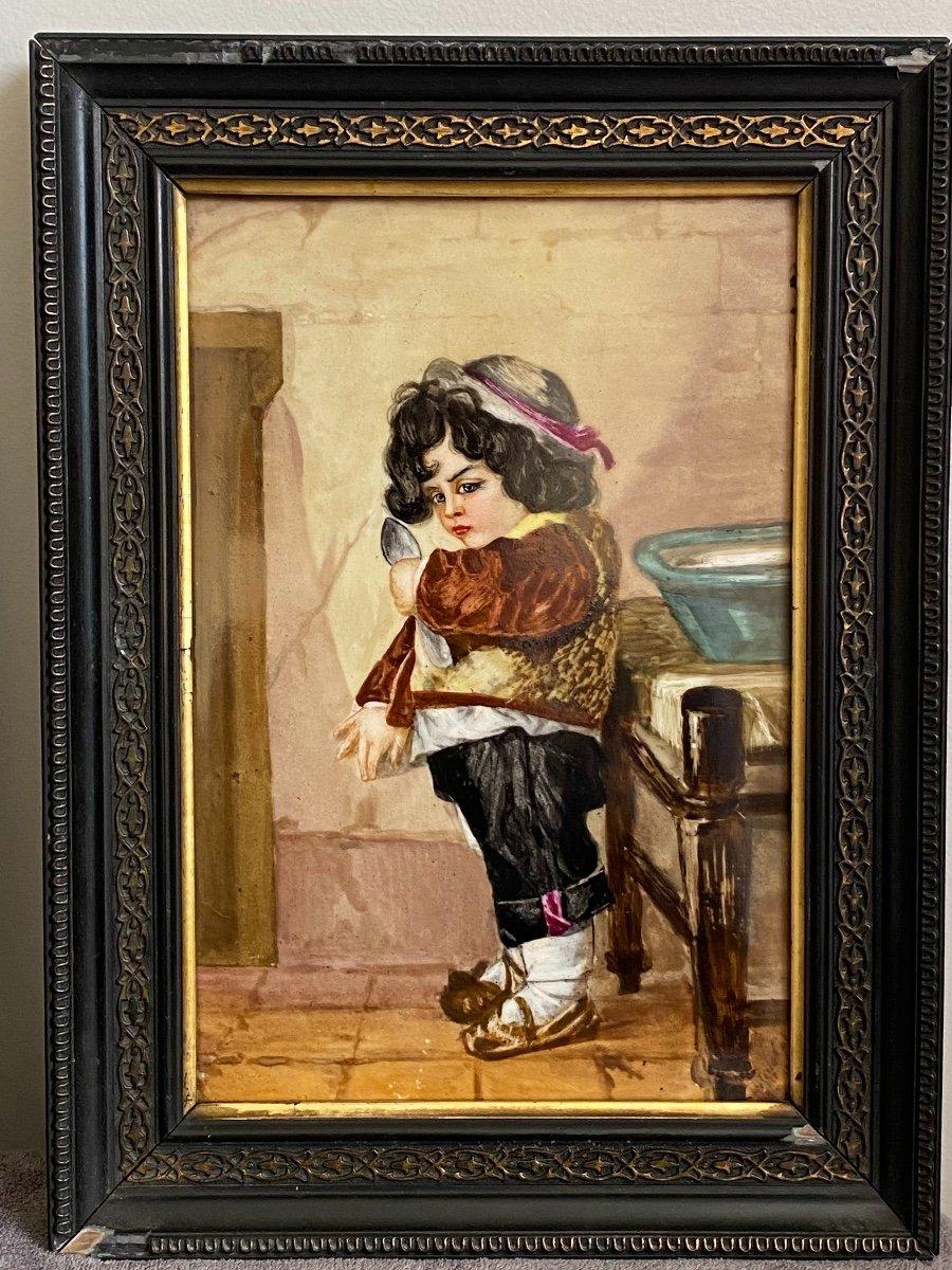 Paire De Peinture Sur Plaques De Porcelaine, Portraits D'enfants Signés Hélène Caber  1863-photo-2