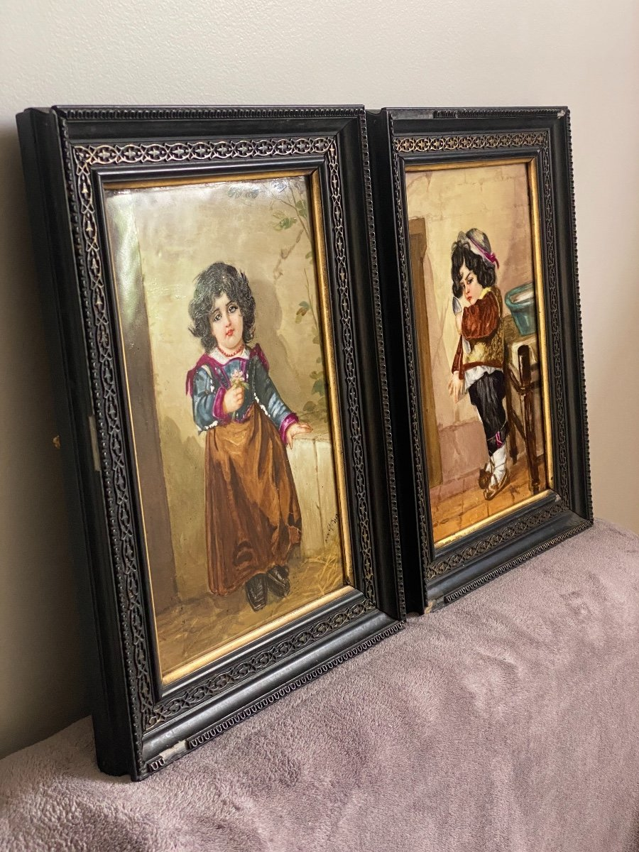 Paire De Peinture Sur Plaques De Porcelaine, Portraits D'enfants Signés Hélène Caber  1863-photo-3