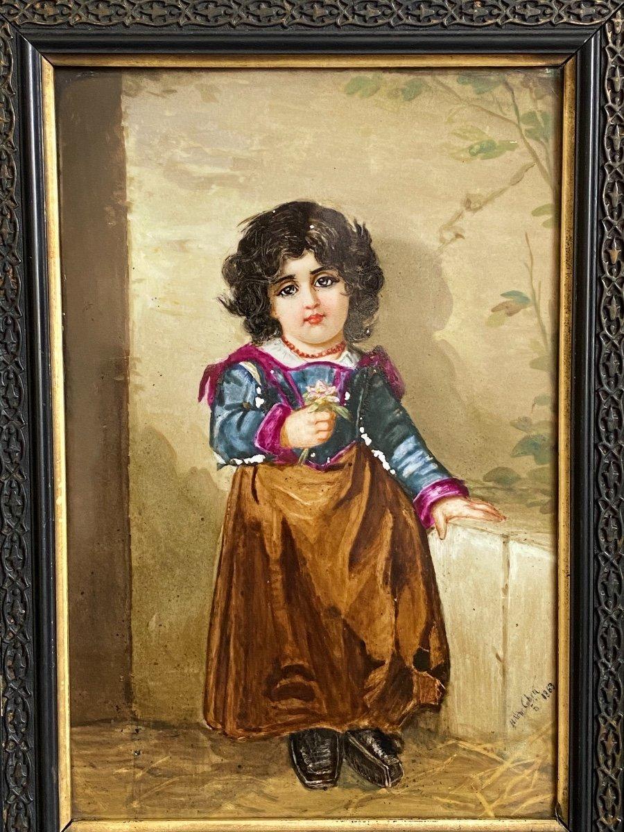 Paire De Peinture Sur Plaques De Porcelaine, Portraits D'enfants Signés Hélène Caber  1863-photo-4