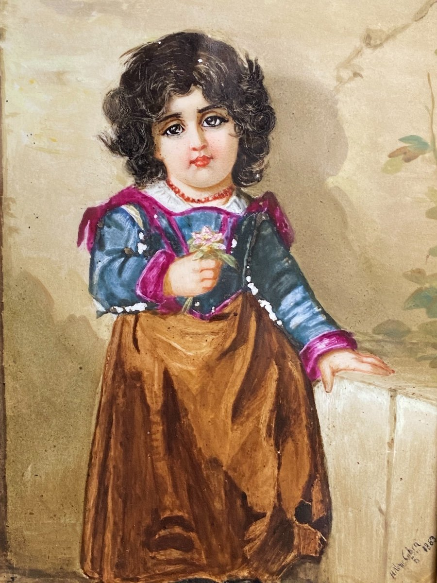 Paire De Peinture Sur Plaques De Porcelaine, Portraits D'enfants Signés Hélène Caber  1863-photo-1