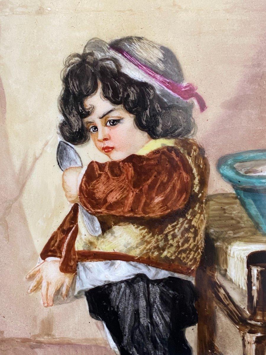 Paire De Peinture Sur Plaques De Porcelaine, Portraits D'enfants Signés Hélène Caber  1863-photo-5