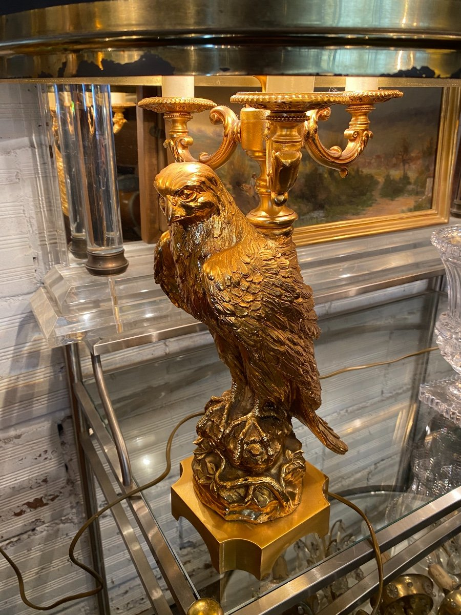 Empire Style Hot Water Bottle Lamp Decorated With An Eagle In Gilt Bronze, Metal Shade-photo-3