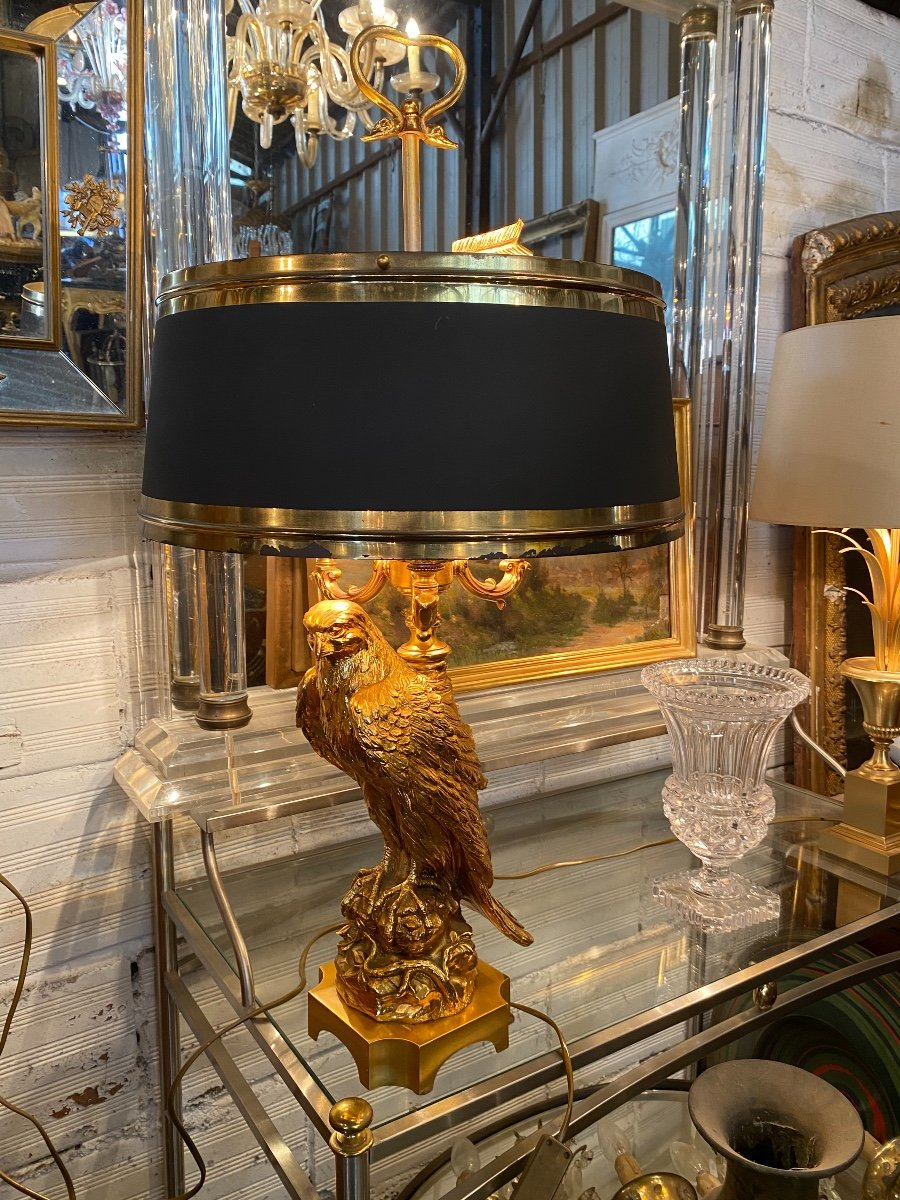 Empire Style Hot Water Bottle Lamp Decorated With An Eagle In Gilt Bronze, Metal Shade-photo-4