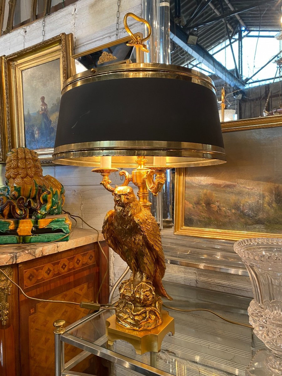 Empire Style Hot Water Bottle Lamp Decorated With An Eagle In Gilt Bronze, Metal Shade-photo-2