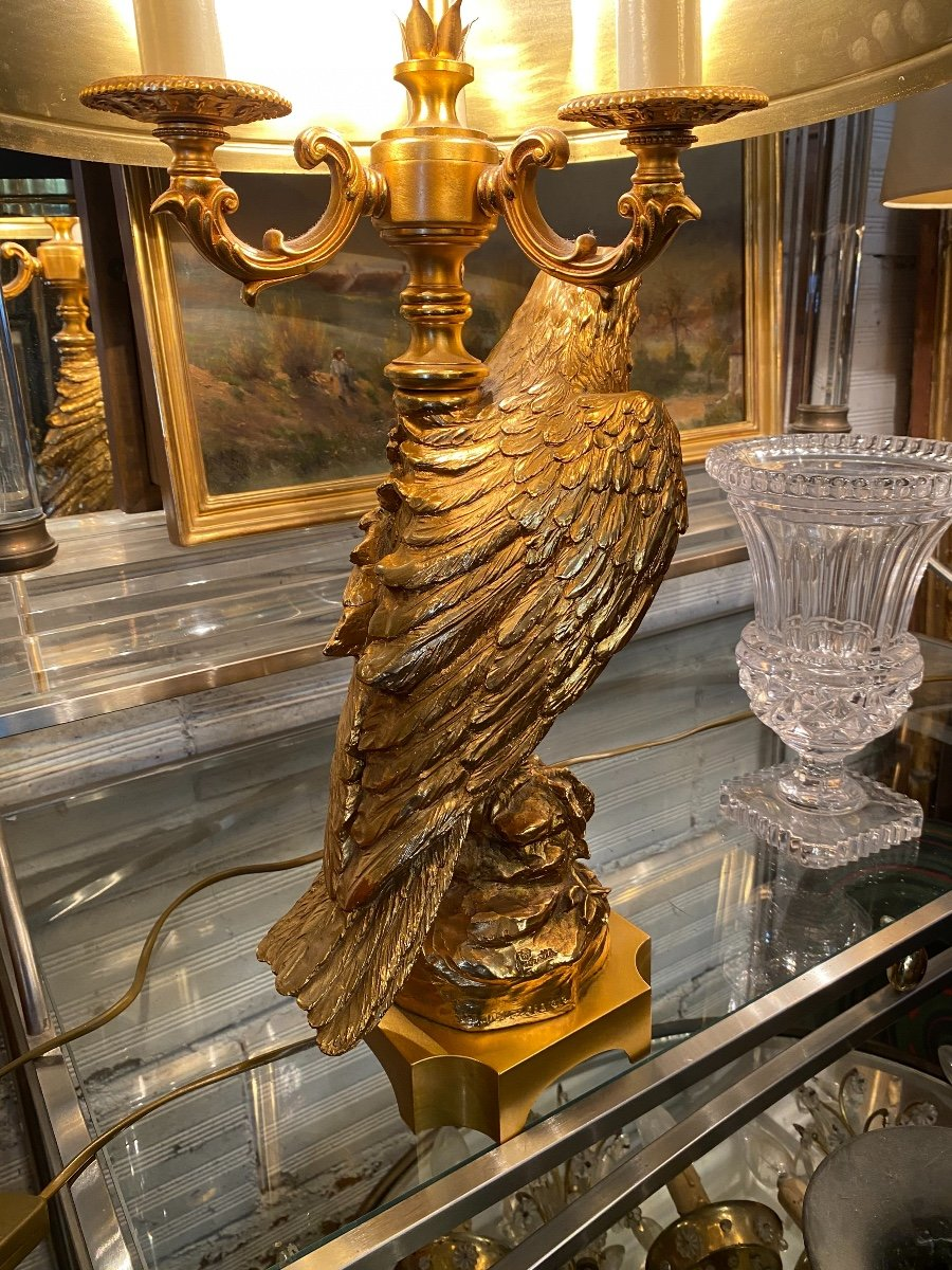 Empire Style Hot Water Bottle Lamp Decorated With An Eagle In Gilt Bronze, Metal Shade-photo-5