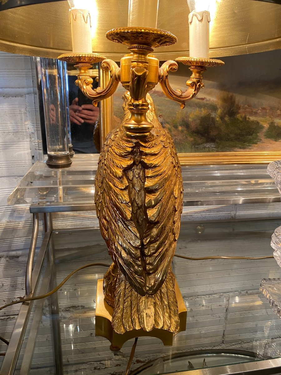 Empire Style Hot Water Bottle Lamp Decorated With An Eagle In Gilt Bronze, Metal Shade-photo-6