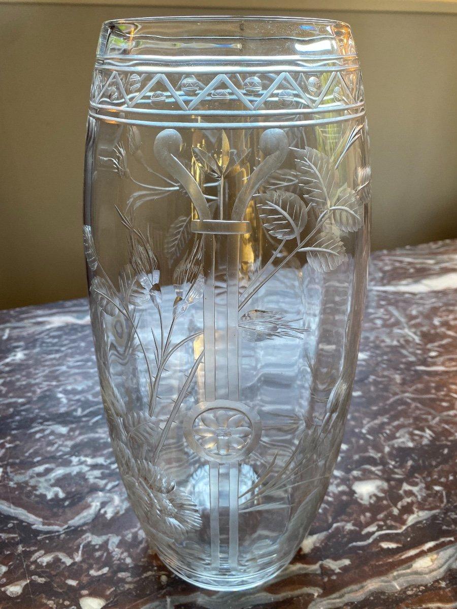 Vase En Cristal De Baccarat Gravé, époque 1900