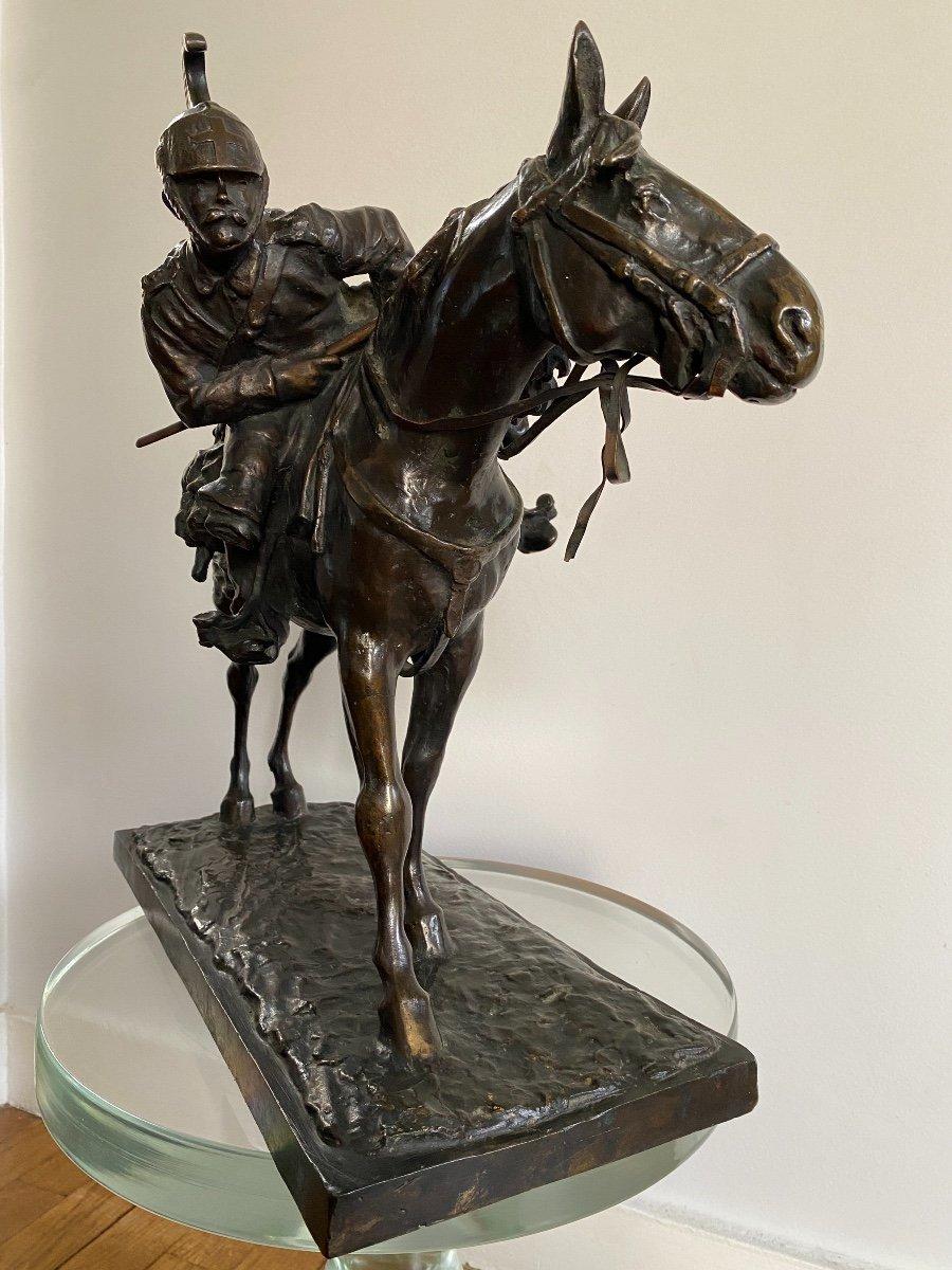 Cavalier à Cheval En Bronze Signé Francesco Ferruccio Crespi (1861-1891) Armée, Savoie, Italie -photo-2