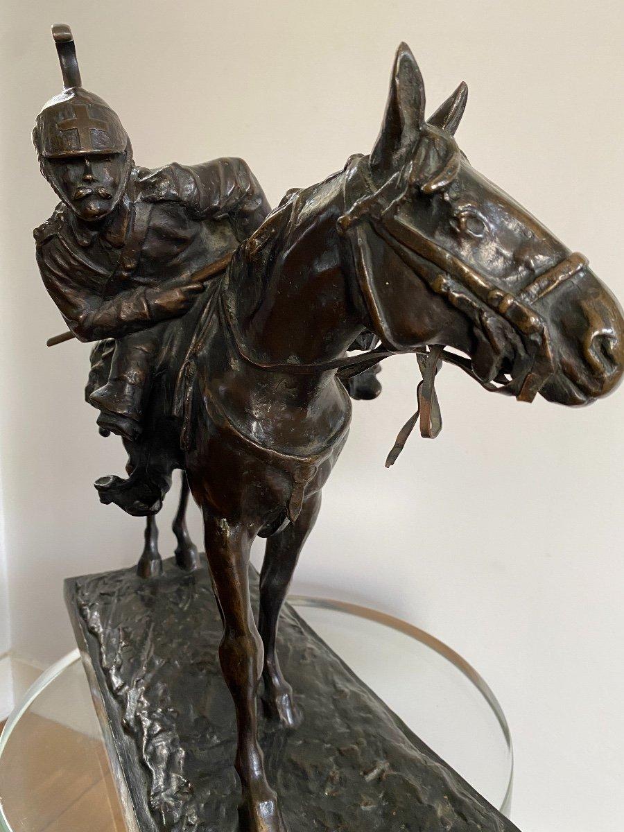 Cavalier à Cheval En Bronze Signé Francesco Ferruccio Crespi (1861-1891) Armée, Savoie, Italie -photo-3