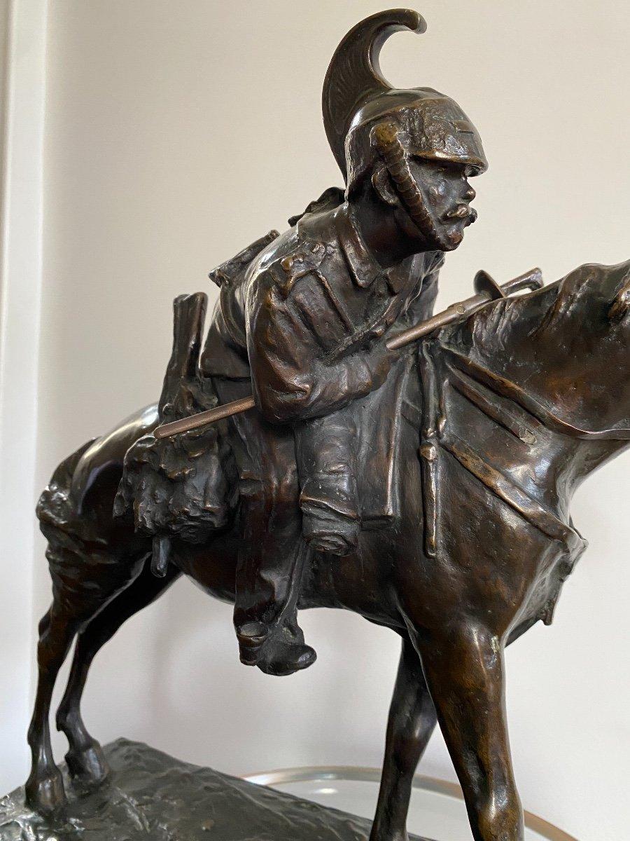 Cavalier à Cheval En Bronze Signé Francesco Ferruccio Crespi (1861-1891) Armée, Savoie, Italie -photo-4