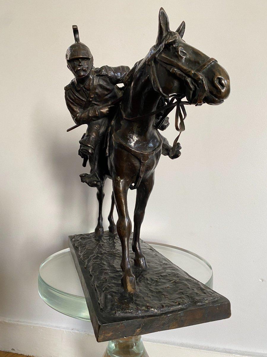 Cavalier à Cheval En Bronze Signé Francesco Ferruccio Crespi (1861-1891) Armée, Savoie, Italie -photo-1
