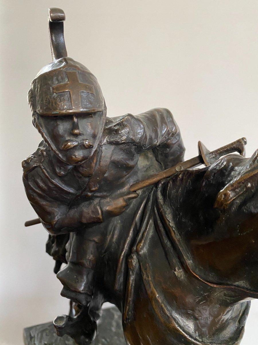Cavalier à Cheval En Bronze Signé Francesco Ferruccio Crespi (1861-1891) Armée, Savoie, Italie -photo-6