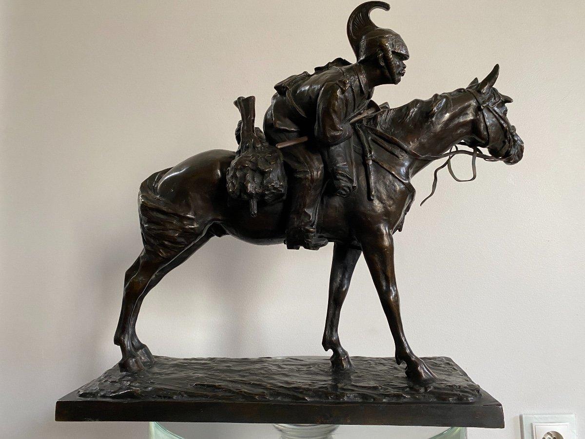 Cavalier à Cheval En Bronze Signé Francesco Ferruccio Crespi (1861-1891) Armée, Savoie, Italie