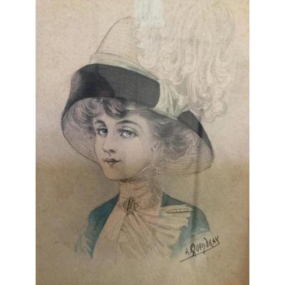 Dessin De Mode époque 1900 Signé, Portrait d'Une élégante Femme Au Chapeau