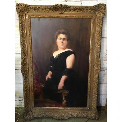 Grand Portrait De Femme Signé Alexis Vollon (1865-1945)