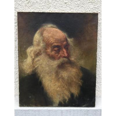 Huile Sur Toile XIXème Signé, Portrait De Vieillard à La Barbe