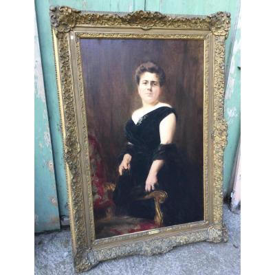 Grand Portrait De Femme Signé Alexis Vollon (1865-1945),