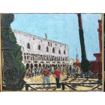 """Huile Sur Toile """"le Palais Des Doges à Venise"""" Signée Salvatore Verniti"""